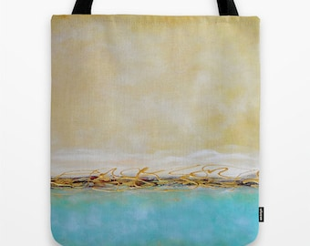Beach Tote Bag, Shoulder Tote, Market Tote Bag, All Purpose Tote, Turquoise Blue Beige, Abstract Art Tote Laptop Tote Bag Shopping Tote Gift