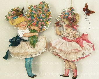 Digital Easter Paper Doll Gift Tags Or Decorations - Vintage Altered Art Flower Girls - Printable Paper Crafts INSTANT Download CS1E