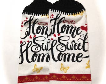 Home Sweet Home Hand Towels With Black Crocheted Tops- Pair