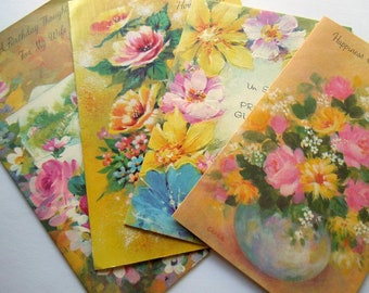 Vintage Bright Yellow Pink Blue Flowers Floral Greeting Cards Lot