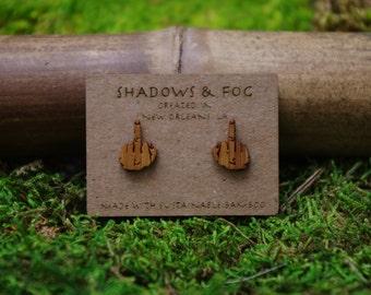 middle finger laser cut bamboo stud earrings