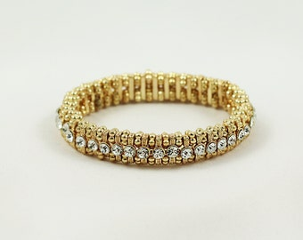 gold bracelet, crystal bracelet, stretch bracelet, crystal jewelry, beaded bracelet, gift for her, holiday gift