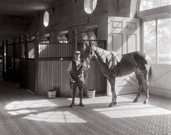 Horse Stable, 1933. Vintage Photo Reproduction Poster Print. Black & White Photograph. Horses, Equestrian, Polo, 1930s, 30s, Historical.