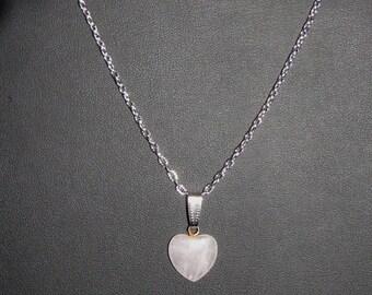 Pink fine Quartz heart stone pendant