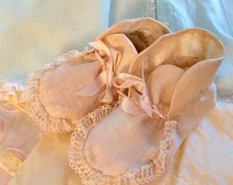 Antique cotton baby shoes, booties,true vintage , handmade? , muslin, drawstring, baby gift, vintage nursery
