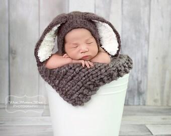 Newborn knit bunny rabbit bonnet and mini blanket set