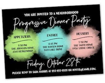 Progressive Dinner Party Invitation - Announcement Card Digital Customized Custom Neighborhood Block Party House Gathering Watercolor