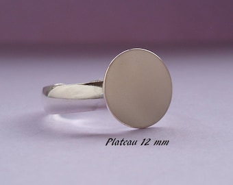 Ring in sterling silver. 925 ring smooth, flat round tray 12 mm