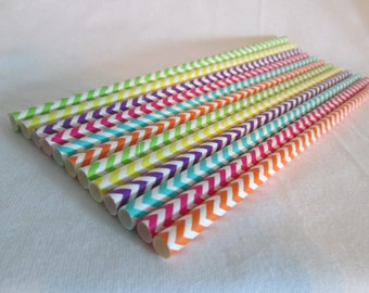 Paper Straws Rainbow Chevrons Perfect for a Rainbow Birthday Party a Baby Shower or Add Some Bright Color To Any Event