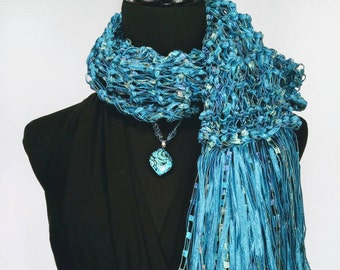 Blue Lagoon Knit Double Strand Ladder Trellis Ribbon Scarf with Gold Accents and Fringe