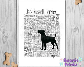 """Jack Russell Terrier Print Art Work Typography On A4 Top Quality Card 10""""x8"""""""