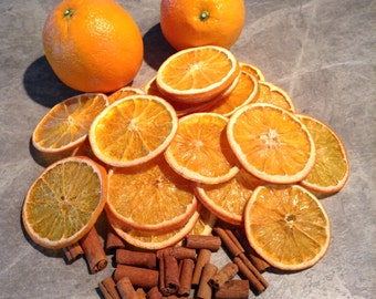 Dried Orange Slices With Cinnamon Sticks. Great for craft projects, potpourri, and home decorating.