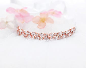 Rose gold headband, crystal wedding headband,  wedding headpiece, bridal hair accessory, bridal headpiece, bridal headband head band
