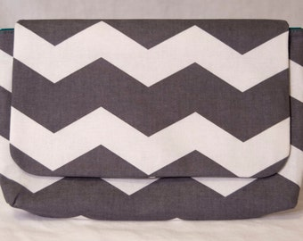 Clutch Purse - Charcoal Gray and White Chevron Print
