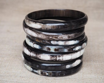 Dark Horn Thick Bangle Set of 7