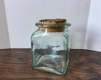 VINTAGE Square Ben Rickert Jar with Cork- Vintage Jar- Old Jar- Square Jar- Farmhouse Decor- Rustic Decor- Vintage Glass Jar- Farmhouse
