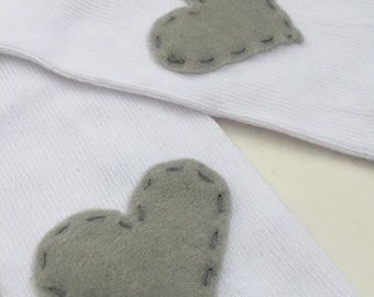 White Baby Leg Warmers with SILVER Hearts