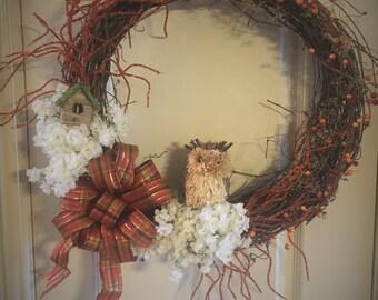 """19"""" Owl Wreath"""