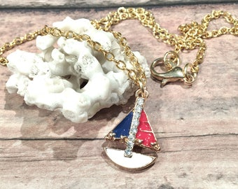 Sailboat Necklace Gold, Sailboat Jewelry, Sailing Necklace, Sailing Jewelry, Sailing Gift, Nautical Necklace for Women, Nautical Jewelry
