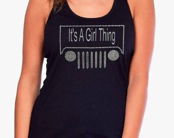 Its A Girl Thing // Rhinestone & Glitter // Tank Top // Rubicon // King Of The Hammmers // CJ // Women's, Jr's Tank Top // Off Road // Bling