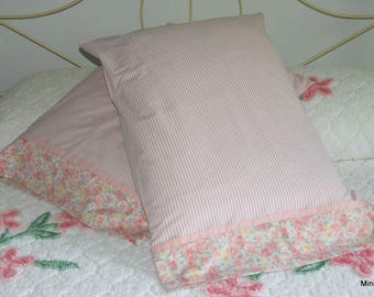 Pillowcase Pair, Pink Stripe, Shabby Chic, Upcycled, Quiltsy Handmade