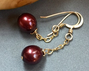 Pearl Earrings; Burgundy Red Cultured Pearl Earrings on 14K GF Ear Hooks