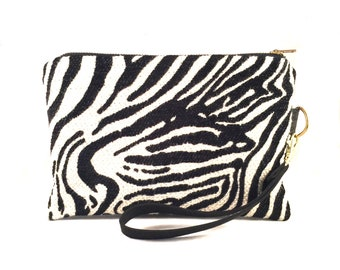 Zebra Print Wristlet, Large Wristlet, iPhone wallet, Vegan Leather Clutch, Cellphone Wristlet,