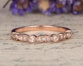 14K Rose Gold Wedding Bands women,half Eternity Engagement Ring ,stacking matching band,custom made fine jewelry,Milgrain bridal ring