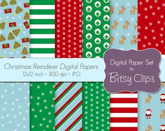 Christmas Reindeer Digital Paper Set Scrapbook Paper INSTANT DOWNLOAD Santa Paper Reindeer Paper