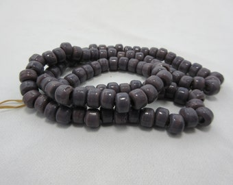 Opaque Purple Glass Crow Beads, Purple Pony Beads, 9 mm Beads, 9 mm diameter x 6 mm thick with a 4 mm hole, Bead Strand, 100 Beads #78
