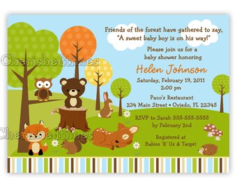 Woodland -Forest Friends Animals Baby Shower Invitation (You Print)