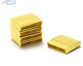 1 fermoirs magnétiques 22x19x5 mm,014,doré,pour cuir et cordon