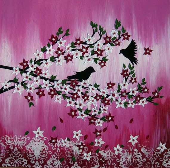 Pink nursery art pink painting japanese cherry blossom mightylinksfo