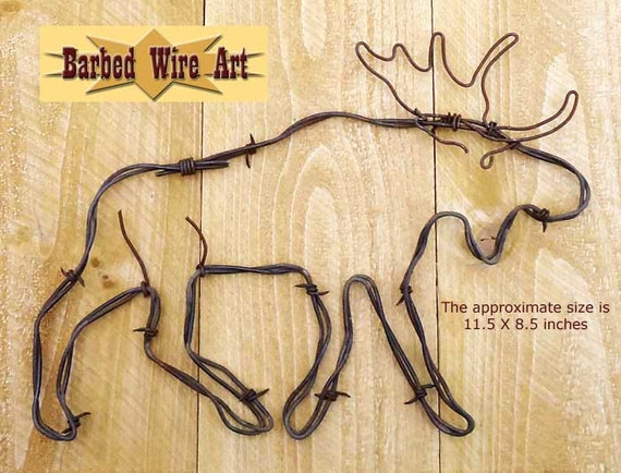 Moose Handmade metal decor barbed wire art country western
