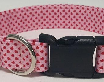 Dog Collar, Red Mini Hearts, happy valentines day, valentines day dog collar, valentines day collar, be mine, heart dog collar, heart collar
