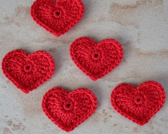 set of 5 red hearts crocheted height 2.5 cm