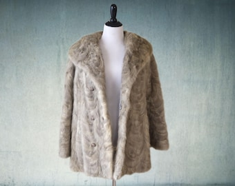 Vintage Mink Coat Grey Double Breasted