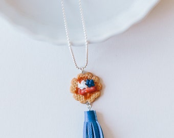 Berry Waffle Tassel Necklace - polymer clay and leather miniature food jewelry
