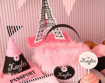 BIRTHDAY Paris DELUXE PERSONALIZED Party Kit-Printable pdf Complete Set