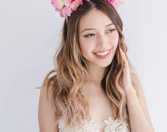 pink spring flower crown // spring racing flower headpiece / spring racing flower crown / spring races fascinator / flower headband