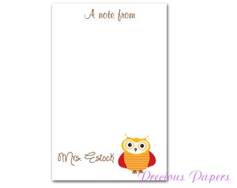 50 sheet Personalized Teacher note pads Personalized teacher gift Personalized teacher owl note pads apple note pad owl note pad