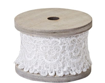 """2"""" OASIS Scalloped Lace, Antique White"""