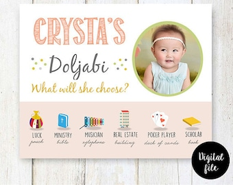 Pastel little princess Korean dol party theme - Coral Doljabi Board sign - First birthday photo chalkboard sign  - DIGITAL FILE!