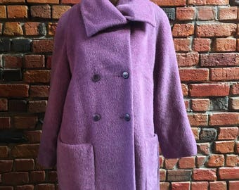 Beautiful Wool Mohair and Alpaca Blend Women's Peacoat in Purple with Buttons 1663