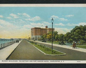 Charleston, South Carolina Postcard - Vintage Color Postcard of Murray Boulevard, The Battery and Fort Sumter Hotel