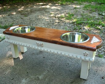 Elevated Dog Feeder, 2 Dog Family, Farmhouse style, Chestnut , White Distressed Feeding Station, Two Dogs, 2 One Quart Bowls, Made To Order