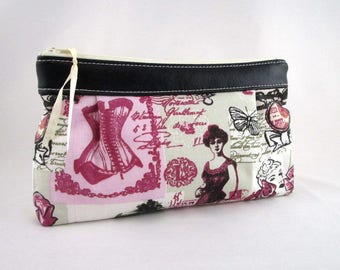 Makeup, purse Tote in vintage fabric and black faux leather