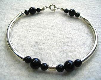 Black and Silver Bracelet, Black Stones with Silver Tubes Bracelet, Modern Minimal Jewelry, Mens or Womens Bangle Style Bracelet
