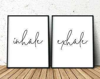 Inhale Exhale, Inhale Exhale Print, Pilates Print, Set of 2 Bedroom Prints, Yoga Poster, Yoga Print, Inhale Exhale Poster, Inhale Exhale Art