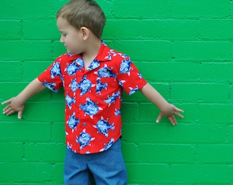 Boy's shirt sewing pattern The Thomas Shirt pdf sewing pattern, Hawaiian style shirt sizes 2 to 14 years.